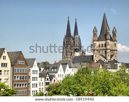 View of the city of Koeln (Cologne) in Germany - high dynamic range HDR