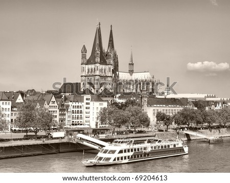 View of the city of Koeln (Cologne) in Germany - high dynamic range HDR - black and white