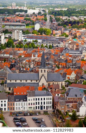 View of the city of Malines (Mechelen) from height of bird's flight, Belgium