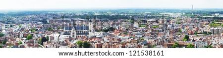 View of the city of Malines (Mechelen) from height of bird's flight, Belgium