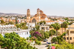 View of the city of Paphos in Cyprus. Paphos is known as the center of ancient history and culture of the island. It is very popular as a center for festivals and other annual events.