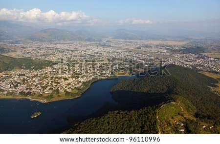 View of the city of Pokhara from motor paraglider - Nepal, Himalayas