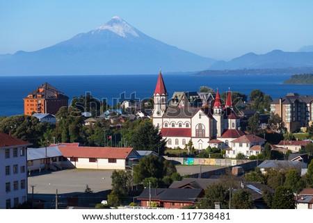 View of the city of Puerto Varas and llanyauihue Lake, Patagonia, Chile