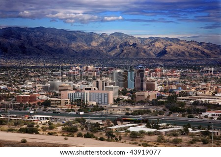 View of the city of Tucson Arizona from the top of Sentinel Mountain