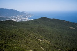 view of the city of Yalta in the Crimea from a bird's eye view