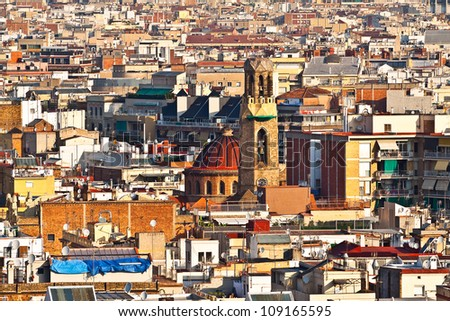 View of the city, with the church and bell tower (Barcelona city, Catalonia, Spain, Europe)