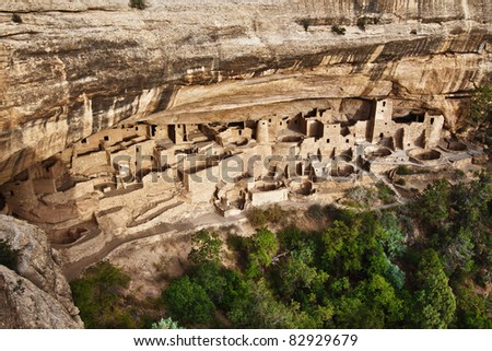 View of the Cliff Palace in Mesa Verde National Park, Colorado Stock photo ©