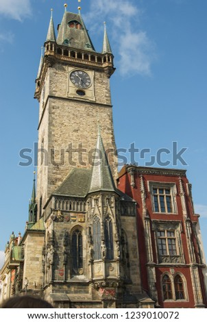 View of the clock tower of the old town hall in Prague. The Prague Astronomical Clock or Prague Orloj is located here. This is a medieval clock first established in 1410. CZECH REPUBLIC 2012
