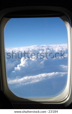 View of the clouds from an airplane window