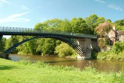 view of the Coalport Bridge and River Severn, near Ironbridge, Shropshire, UK