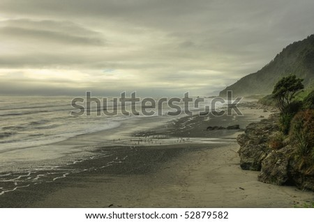 View of the Coast and Fog on the South Island of New Zealand