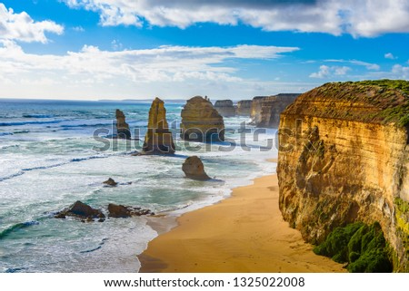 View of the coastline and the cliffs of the 12 apostles in the Pacific Ocean. Australia. #1325022008