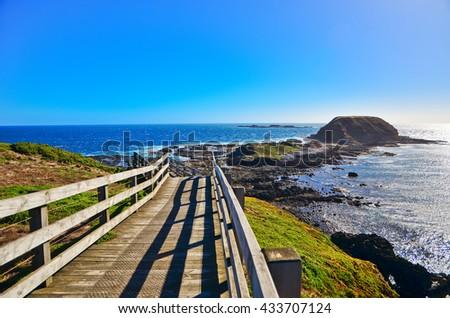 View of the coastline at Nobbies Centre in Phillip Island, Victoria, Australia.