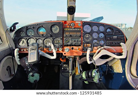 View of the cockpit of a small plane