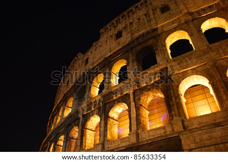 view of the coliseum of ancient Rome