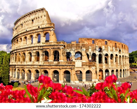 View of the Colosseum with flowers Rome Italy