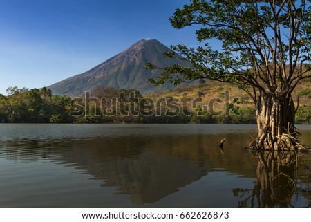 Shutterstock View of the Concepcion Volcano and its reflection on the water in the Ometepe Island, Nicaragua; Concept for travel in Nicaragua and Central America