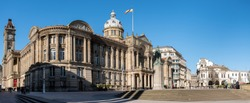 View of the Council House in Victoria Square with people enjoying the sunshine, Birmingham, England, UK, Western Europe,