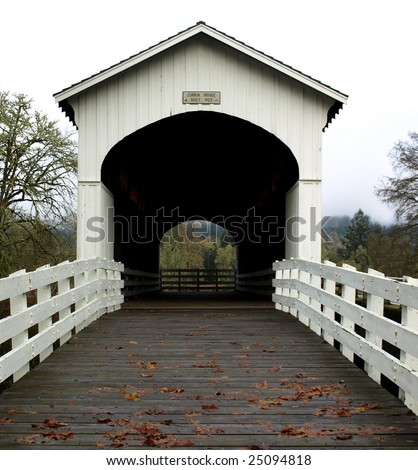 View of the Currin covered bridge in Cottage Grove, Oregon