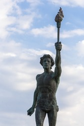 View of The cursor (torchbearer) in Rio- Antirio in blue sky