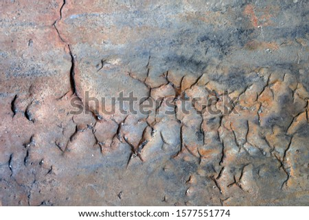 View of the deep cracks at the steel casting material. Hot tears, also known as hot cracking, are failures in the casting that occur as the casting cools. #1577551774