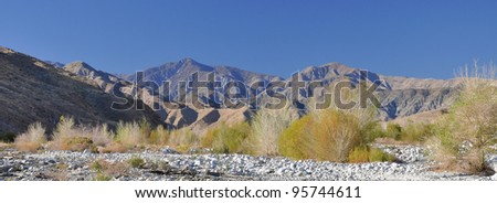 View of the desert hills and landscape which are found in Whitewater Canyon not far from Palm Springs, California.