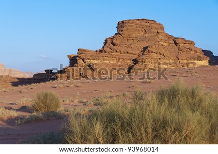 View of the desert in the later after noon in Wadi Rum UNESCO World Heritage area, Jordan