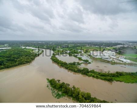 View of the devastation of Hurricane Harvey in League City Texas near i45