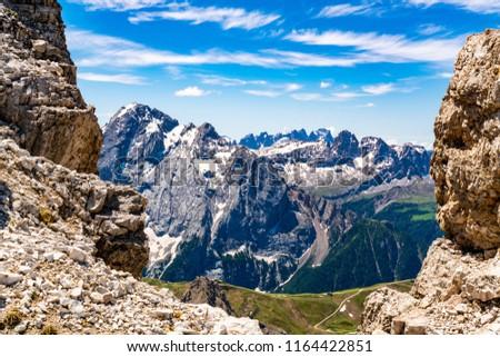 View of the Dolomites mountain at Sass Pordoi in South Tyrol, Italy #1164422851