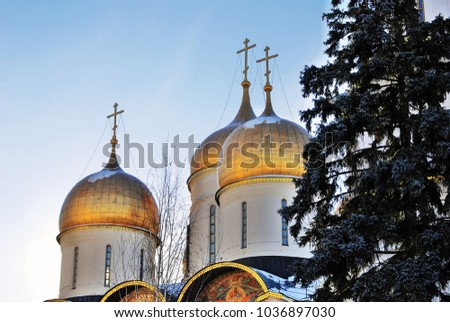 View of the Dormition church in Moscow Kremlin, a popular touristic landmark. UNESCO World Heritage Site.  #1036897030