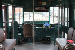 View of the Driver's seat of a vintage electric trolley ride at Steam Town Scranton Pa.