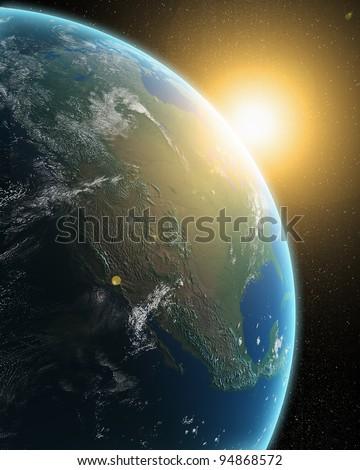 View of the Earth from outer space - sunrise over North America