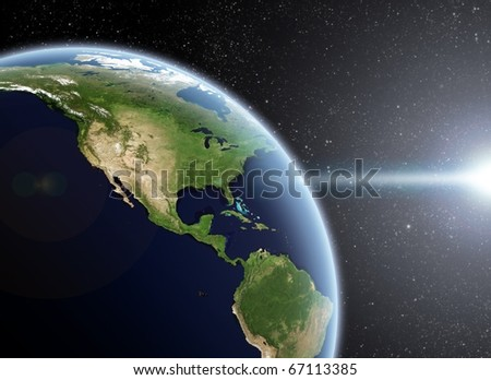 View of the Earth from space. America Close up