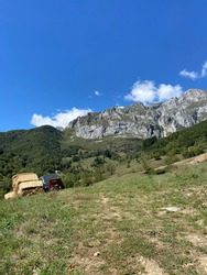 View of the eastern massif of the Picos de Europa near Colio village in the Europa Peaks, Cantabrian Mountains, northern Spain.