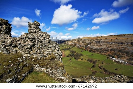 view of the eglwyseg limestone escarpment and valley taken from the ruins of castell dinas bran, llangollen
