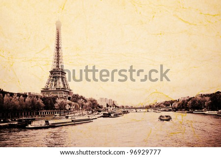 "View of the Eiffel Tower and bridge ""Pont d'Elena"" from the Passerelle Debilly in Paris"
