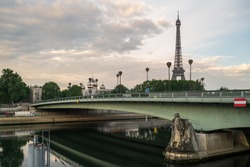 View of the Eiffel Tower and bridge Pont de l' Alma in Paris - France