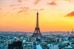 View of the Eiffel tower at sunrise, Paris.