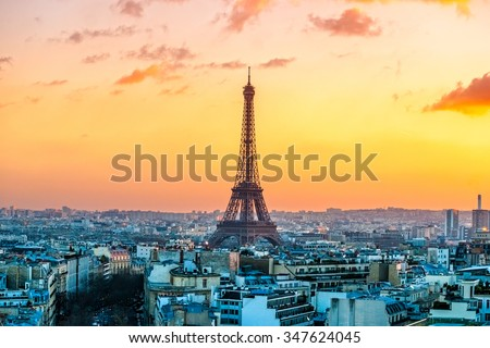 Stock Photo View of the Eiffel tower at sunrise, Paris.