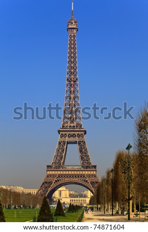 Picture Eiffel Tower on View Of The Eiffel Tower From Park Du Champ De Mars  Paris  France