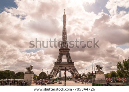 View of the Eiffel tower in Paris. Paris beautiful destinations in Europe, PARIS - AUGUST , Eiffel Tower in Paris, France , Eiffel Tower from Bir-Hakeim metal bridge, The Eiffel tower at sunrise