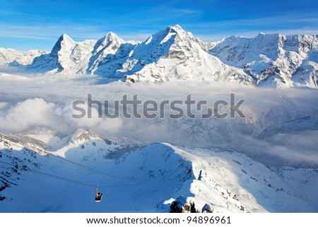View of the Eiger, Monch and Jungfrau peaks from the Schilthorn (Piz Gloria), valley of Lauterbrunnen, Bernese Alps, Switzerland, Europe