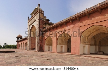 View of the entrance to the tomb of Akbar the Great