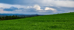 View of the extinct volcano Ostrzyca from the village of Rzasiny Dolny Slask
