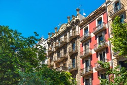 View of the facade of a historic building, Barcelona, Spain