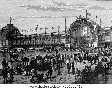 View of the facade of the Universal Exhibition in Paris in 1878, vintage engraved illustration. Industrial encyclopedia E.-O. Lami - 1875. Foto stock ©