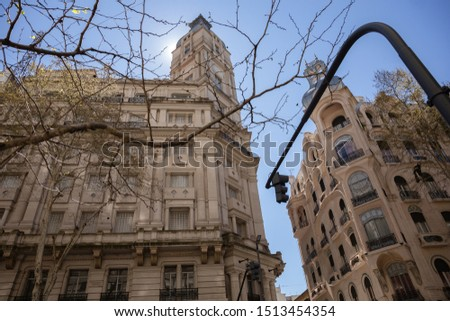 View of the facades of beautiful tall houses. Buenos Aires, Argentina