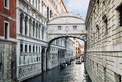 View of the famous Bridge of Sighs in Venice