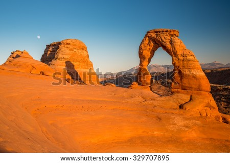 View of the famous Delicate Arch at sunset in Utah, USA.