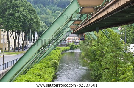 view of the famous floating tram in Wuppertal